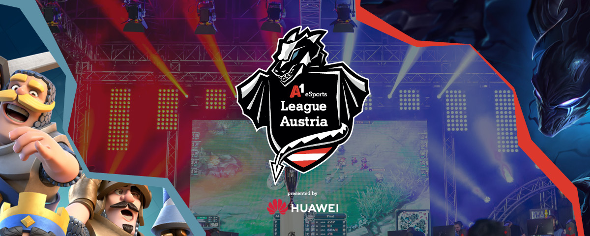 A1 eSports League Austria Banner mit Clash Royale und League of Legends